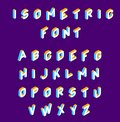 Isometric font . olored isometric 3d letters , Three-dimensional alphabet. Low poly 3d characters. Vector illustration