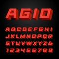 Isometric font. Vector alphabet. Royalty Free Stock Photo