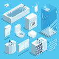 Isometric furniture elements set of bathroom interior. Vector illustrations