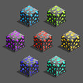 Isometric game pixel brick cubes set. Cube for game, element pixel texture for computer game.