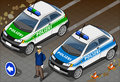 Isometric german police car detailed illustration of a and standing policeman this illustration is saved in eps with color space Royalty Free Stock Image