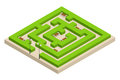 Isometric Green plant maze. City, park and outdoor plants. Rectangular park is a labyrinth made of bushes with benches Royalty Free Stock Photo