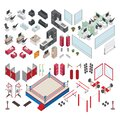 Isometric gym and office elements. Vector illustration decorative design Royalty Free Stock Photo
