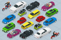 Isometric high quality city transport car icons set Royalty Free Stock Photo