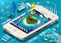 Isometric holidays infographic on mobile phone detailed illustration of a this illustration is saved in eps with color space in Stock Photo