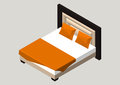 Isometric home furniture - bed. Interior element Bedroom. Vector illustration isolated on background.