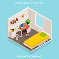 Isometric home office workplace. Concept freelance workspace.