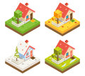 Isometric House 3d Icon Real Estate Symbol Meadow Season 3d isometric Background Design Vector Illustration Royalty Free Stock Photo