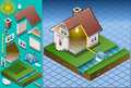 Isometric house powered by watermill Royalty Free Stock Photos