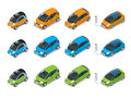 Isometric Hybrid, Electric and Mini Cars. City cars on white background. Flat 3d Vector compact smart car