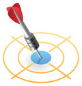Isometric icon of dart in target Royalty Free Stock Photo