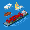 Isometric Icon Set with Container Ship Vacation Yacht and Boats