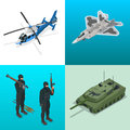 Isometric icons helicopter, aircraft, tank, soldiers. Flat 3d vector high quality military vehicles machinery transport. Royalty Free Stock Photo