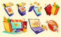 Isometric icons of mobile phones, laptop, wristwatches showing the ease and convenience of online payments
