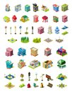 Isometric vector icons set for city constructor. Houses, cafe, hospital, shop, hotel, road equipment, park elements Royalty Free Stock Photo