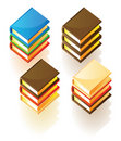 Isometric icons of stacked books Royalty Free Stock Photo