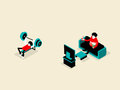 Isometric illustration of healthy lifestyle concept Royalty Free Stock Photo