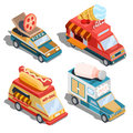 Isometric illustrations of cars fast delivery of food and food trucks - pizza, ice cream, hot dogs, milk