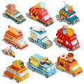 Isometric illustrations of cars fast delivery of food and food trucks