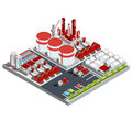 isometric illustrations oil refinery