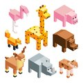 Isometric illustrations of stylized 3d animals