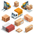 Isometric industry machine for lading, freight and different boxes and pallets. Logistic illustrations Royalty Free Stock Photo