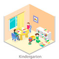 Isometric interior of room in the kindergarten. Children draw
