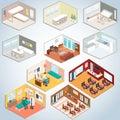 Isometric interior set, Isometric rooms