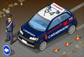 Isometric italian carabinieri police car detailed illustration of a and standing carabiniere this illustration is saved in eps Stock Photos