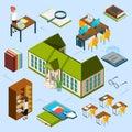 Isometric library vector concept. 3D public library building, computer area, e-reading books, librarians, bookshelf