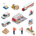 Isometric Logistics icons set of different transportation distribution vehicles, delivery elements. Vehicles designed to