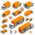 Isometric Logistics icons set of different transportation