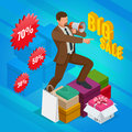 Isometric Man with loudspeaker. E-commerce, shopping, discount, Big sale, buy now concept.