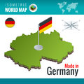 Isometric map and flag of the Germany or Deutschland. Federal Republic of Germany and flag.