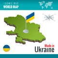 Isometric map and flag of the Ukraine. Sovereign state in Eastern Europe