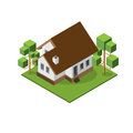 Isometric medium house isolated isomatic vector property set Royalty Free Stock Image