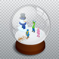 Isometric Merry christmas transparent glass ball Royalty Free Stock Photo