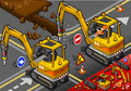 Isometric mini chisel excavator in rear view detailed illustration of a worker piloting this illustration is saved eps with Royalty Free Stock Photography