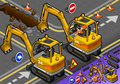 Isometric mini excavator with man at work in rear view detailed illustration of a this illustration is saved eps color space rgb Royalty Free Stock Image