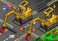 Isometric mini mechanical arm excavator in front view detailed illustration of a worker piloting this illustration is saved eps Royalty Free Stock Photo