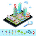 Isometric Mobile Navigation. Tourism Industry. Modern City