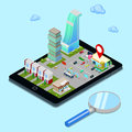 Isometric Mobile Navigation. Tourism Industry. Modern City on the Tablet Screen