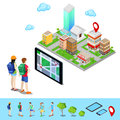 Isometric Mobile Navigation. Tourists Searching Route in the City