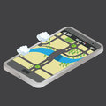 Isometric mobile phone city ​​map and a football pitch Stock Images