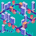 Isometric modern city concept. Stylish business centers with residential apartment building green park area highway. Royalty Free Stock Photo