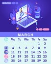 Isometric month March from set calendar of 2019. Small people look at the resume together, looking for work, recruiting Royalty Free Stock Photo