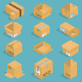 Isometric moving box vector illustration