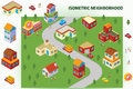 Isometric neighborhood illustration of an available in vector eps file Stock Photos