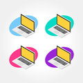 Isometric notebook, laptop design icon illustration
