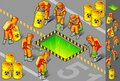 Isometric nuclear area with six man at work Royalty Free Stock Images
